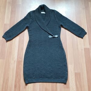 Calvin klein knit ribbed fitted sweater dress